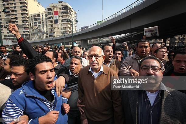 Egyptian oppostion leader Mohamed ElBaradei arrives for Friday prayers at the l-Istiqama Mosque in Giza on January 28, 2011 in Cairo, Egypt....