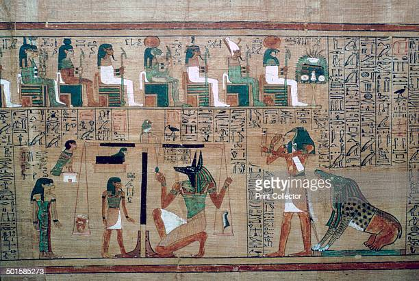 Egyptian papyrus with a depiction of the 'weighing of the heart' of the decased Ani on the left against the feather of truth on the right by the...