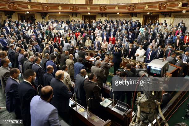 Egyptian parliament members attend a general session in the capital Cairo on July 20, 2020. - Egypt's parliament greenlighted behind a closed-doors...