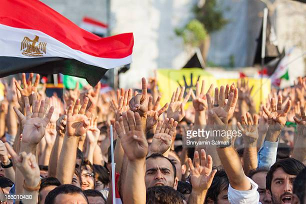 Egyptian people in Turkey and solidarity activists protest in Istanbul against the recent deaths among anti-coup supporters. Pro-Morsi supporters and...