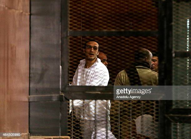 Egyptian photojournalist Mahmoud Abou Zeid known as Shawkan is seen during his trial at Cairo Police Academy in Cairo Egypt on February 26 2015...