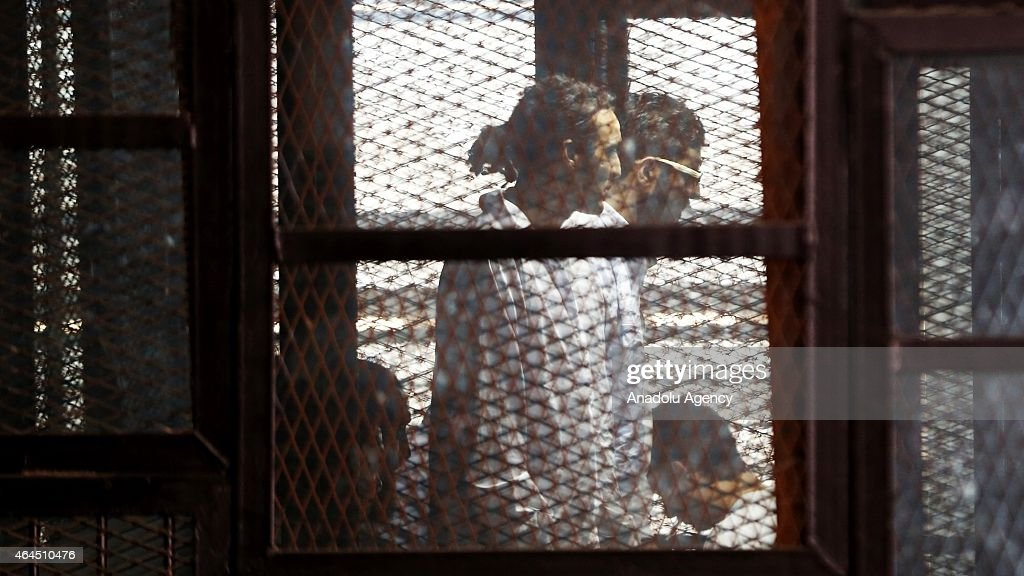 Egyptian photojournalist Mahmoud Abou Zeid known as Shawkan is seen during his trial at Cairo Police Academy in Cairo, Egypt on February 26, 2015. Shawkan's detention extended for 45 more days.