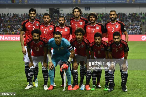 Egyptian players Egypt's defender Ali Gabr Egypt's midfielder Mahmoud Hassan Egypt's defender Ahmed Fathi Egypt's midfielder Mohamed Elneny Egypt's...