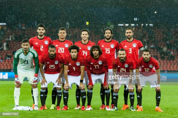 Egyptian players pose for team photo during the International Friendly between Egypt and Greece at the Letzigrund Stadium on March 27 2018 in Zurich...