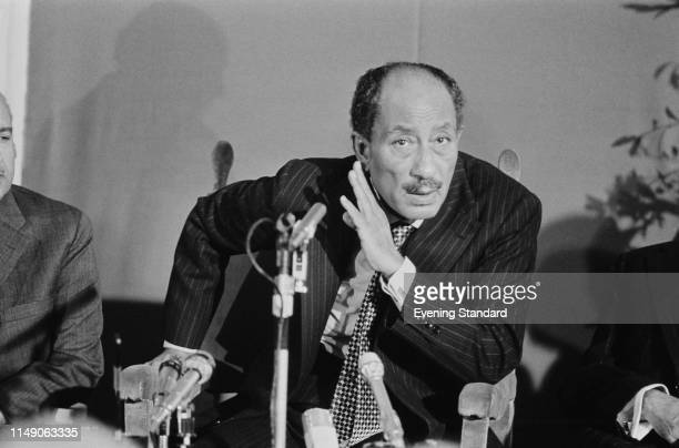 Egyptian politician Anwar Sadat President of Egypt at a press conference UK 10th November 1975