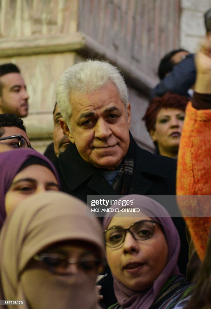 Egyptian politician Hamdeen Sabahi (C) takes part in a demonstration against the US president's recognition of Jerusalem as Israel's capital, on December 7, 2017, outside the Syndicate of Journalists Cairo's downtown district. /