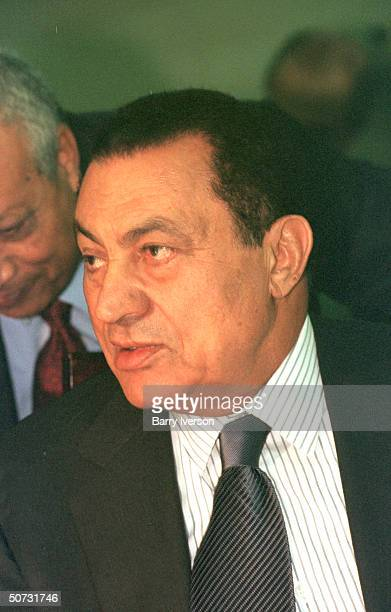 Egyptian Pres Husni Mubarak in serious portrait during Arab League summit held October 2122