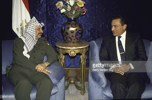 Egyptian Pres Husni Mubarak meeting with Palestine Liberation Organization chairman Yasser Arafat