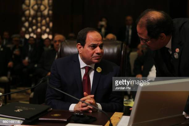 Egyptian president Abdel Fattah Al Sisi attends during the Arab League summit in the Jordanian Dead Sea resort of Sweymah Jordan March 29 2017 Arab...