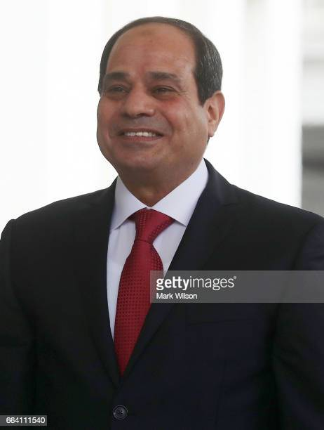 Egyptian President Abdel Fattah Al Sisi is greeted by US President Donald Trump upon his arrival at the West Wing of the White House on April 3 2017...