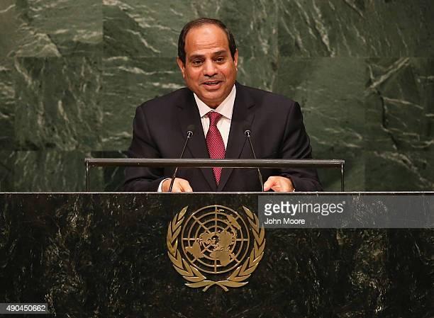 Egyptian President Abdel Fattah AlSisi addresses the United Nations General Assembly on September 28 2015 in New York City World leaders gathered for...
