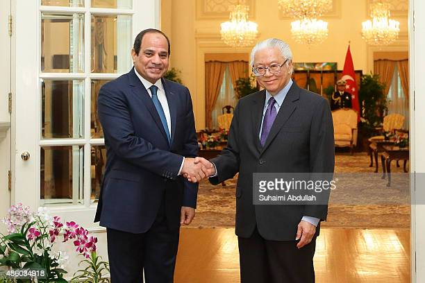 Egyptian President Abdel Fattah AlSisi calls on Singapore President Tony Tan Keng Yam at the Istana on August 31 2015 in Singapore The visit to...