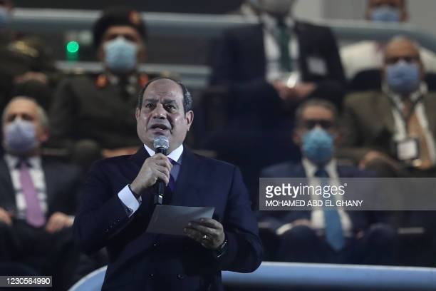 Egyptian president Abdel Fattah al-Sisi delivers a speech in grandstand before the opening match of the 2021 World Men's Handball Championship...
