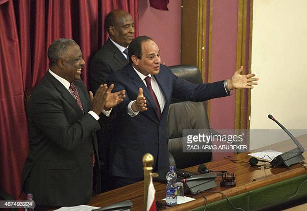 Egyptian President Abdel Fattah alSisi gestures after addressing the Ethiopian Parliament on March 25 2015 The leaders of Egypt and Ethiopia promised...