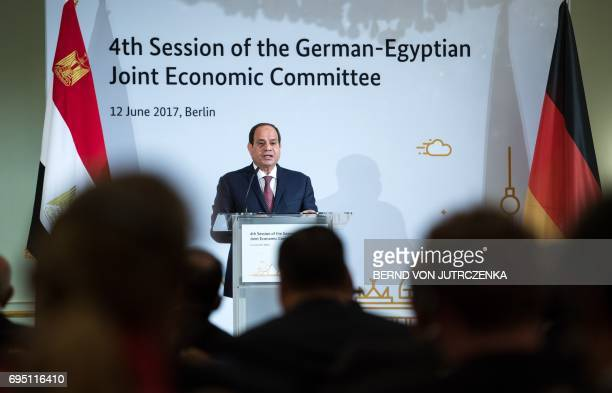 Egyptian President Abdel Fattah al-Sisi gives a speech at the 4th session of the German-Egyptian Joint Economic Committee in Berlin on June 12, 2017....