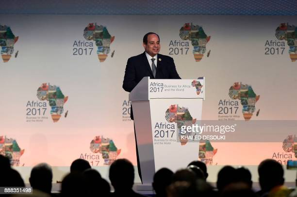 Egyptian President Abdel Fattah alSisi gives a speech during the opening session of the Africa 2017 Forum in Sharm elSheikh on December 8 2017 / AFP...