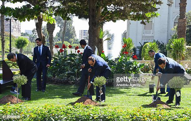 Egyptian President Abdel Fattah alSisi Greek Prime Minister Alexis Tsipras and Greek Cyprian Leader Nicos Anastasiades plant olive trees at...