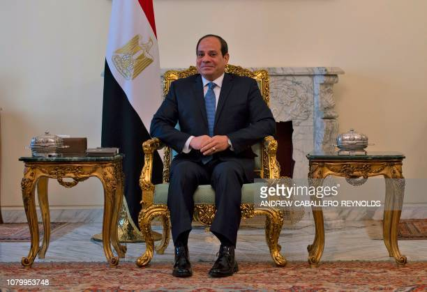 Egyptian President Abdel Fattah alSisi is pictured during his meeting with the US secretary of state in Cairo on January 10 2019 US Secretary of...