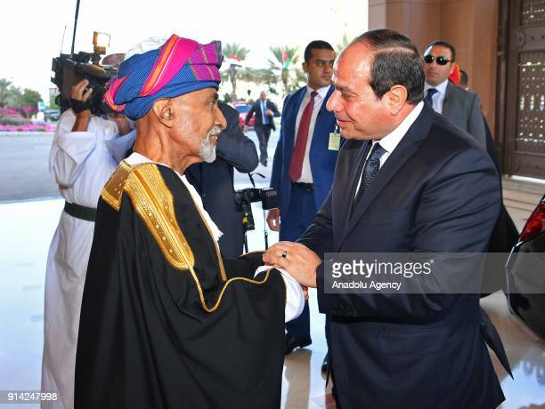 Egyptian President Abdel Fattah alSisi is welcomed by Sultan of Oman Qaboos bin Said Al Said at the Al Alam Palace in Muscat Oman on February 4 2018