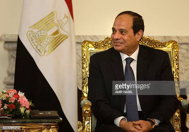 Egyptian President Abdel Fattah alSisi listens to the US Secretary of State during a meeting at the presidential palace in Cairo on May 18 2016 US...