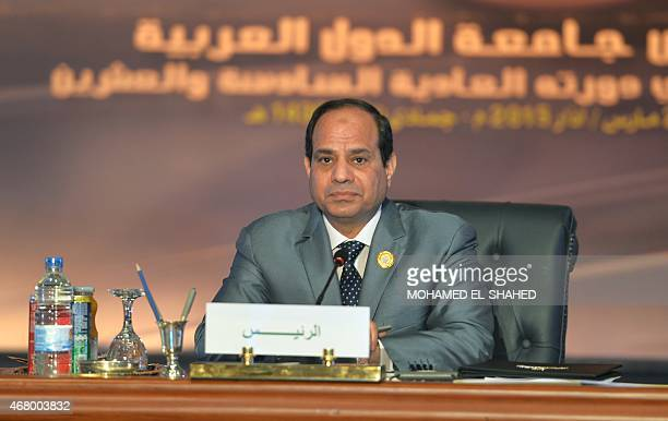 Egyptian President Abdel Fattah alSisi looks on during the Arab League summit at the Red Sea resort of Sharm ElSheikh on March 29 2015 Sisi announced...