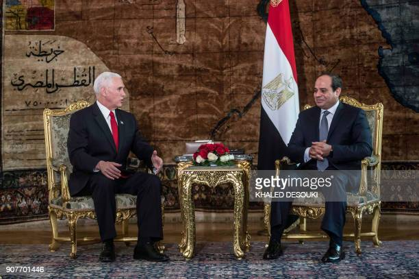 Egyptian President Abdel Fattah alSisi meets with US Vice President Mike Pence at the Presidential Palace in the capital Cairo on January 20 2018...