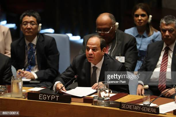 Egyptian President Abdel Fattah alSisi speaks at a Security Council meeting during the 72nd United Nations General Assembly at UN headquarters on...