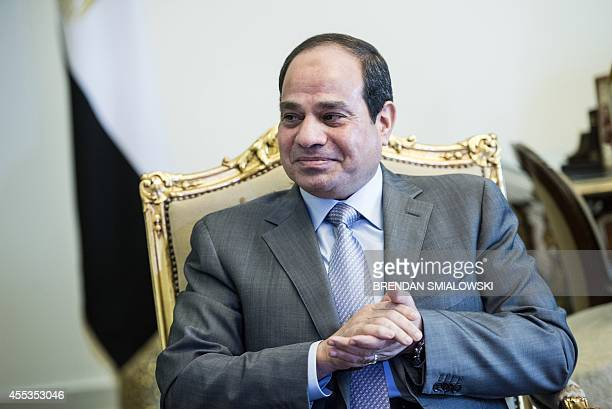 Egyptian President Abdel Fattah alSisi waits for a meeting with US Secretary of State John Kerry at the presidential palace in Cairo September 13...