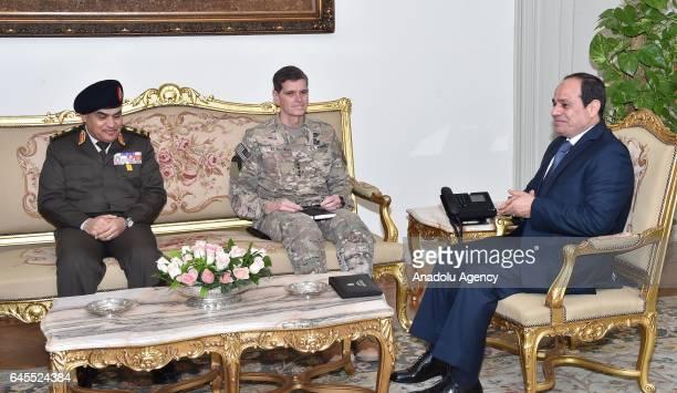 Egyptian President Abdel Fattah elSisi and Egyptian Defense Minister Gen Sedki Sobhi meet with General Joseph Votel Commander of US Central Command...