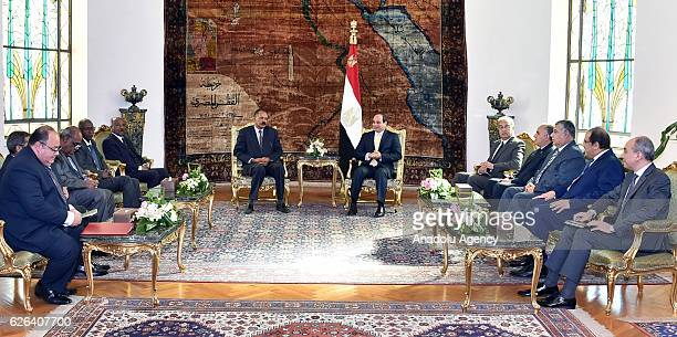 Egyptian President Abdel Fattah elSisi and Eritrean President Isaias Afwerki are seen during their meeting at the Ittihadiya presidential palace in...