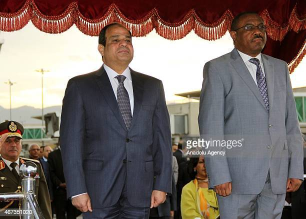 Egyptian President Abdel Fattah elSisi and Ethiopia's President Hailemariam Desalegn are seen during a welcoming ceremony at Bole Airport in Addis...