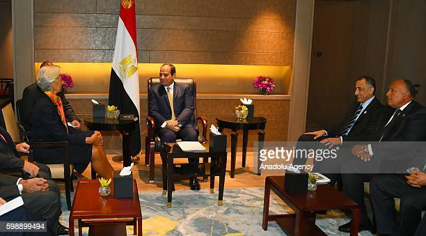 Egyptian President Abdel Fattah elSisi and Foreign Minister of Egypt Sameh Shoukry meet with Managing Director of the International Monetary Fund...
