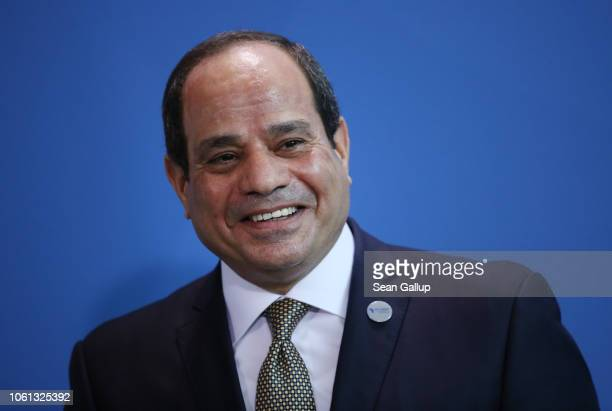 Egyptian President Abdel Fattah elSisi and German Chancellor Angela Merkel speak to the media following bilateral talks prior to the Compact with...