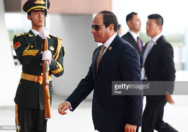 Egyptian President Abdel Fattah elSisi arrives at the Hangzhou International Expo Center on September 4 2016 in Hangzhou China World leaders are...