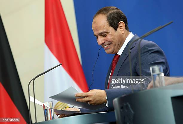 Egyptian President Abdel Fattah elSisi arrives for a news conference with German Chancellor Angela Merkel on June 3 2015 in Berlin Germany The...