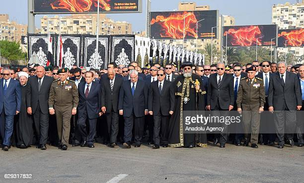 Egyptian President Abdel Fattah elSisi attends the funeral ceremony for the victims of the explosion at Saint Peter and Saint Paul Coptic Orthodox...
