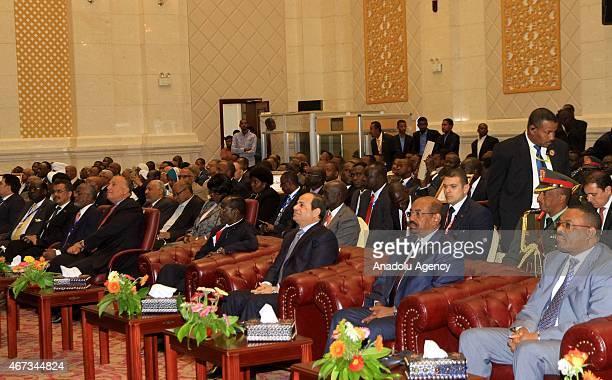 Egyptian President Abdel Fattah elSisi Ethiopian Prime Minister Hailemariam Desalegn Sudanese President Omar alBashir attend the signing ceremony of...