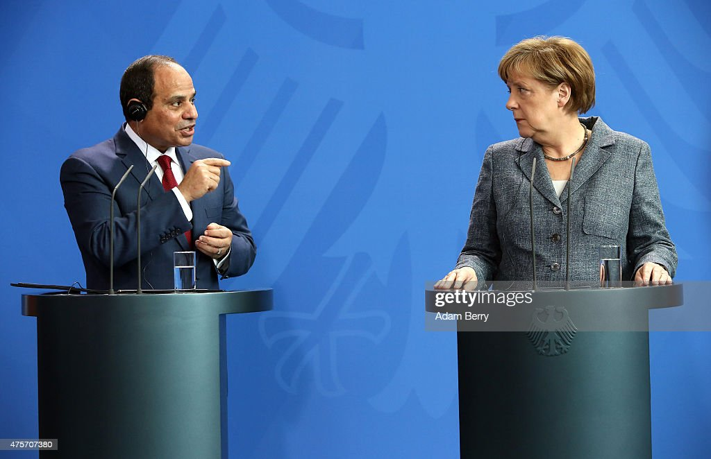 Egyptian President Abdel Fattah el-Sisi (L) speaks during a news conference with German Chancellor Angela Merkel (R) on June 3, 2015 in Berlin, Germany. The meeting between the two leaders was intended to increase economic and security cooperation between their two countries, which shared 4.4 billion euros ($4.8 billion) in bilateral trade in 2014. The two disagreed over human rights issues such as capital punishment.