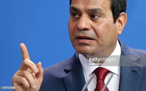 Egyptian President Abdel Fattah elSisi speaks during a news conference with German Chancellor Angela Merkel on June 3 2015 in Berlin Germany The...