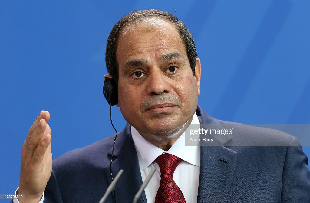 Egyptian President Abdel Fattah el-Sisi speaks during a news conference with German Chancellor Angela Merkel (unseen) on June 3, 2015 in Berlin, Germany. The meeting between the two leaders was intended to increase economic and security cooperation between their two countries, which shared 4.4 billion euros ($4.8 billion) in bilateral trade in 2014. The two disagreed over human rights issues such as capital punishment.