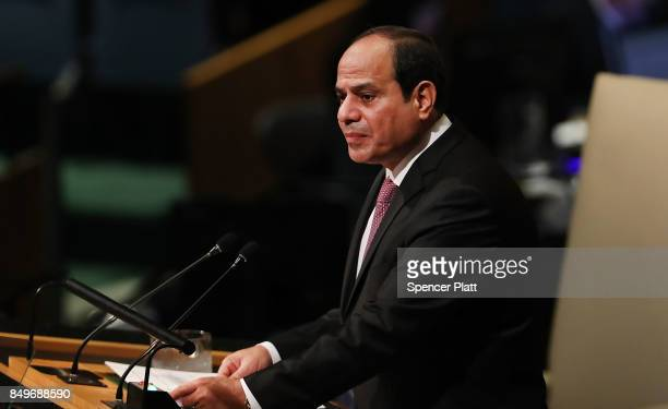 Egyptian President Abdel Fattah elSisi speaks to world leaders at the 72nd United Nations General Assembly at UN headquarters in New York on...