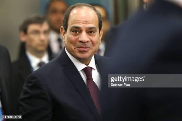 Egyptian President AbdelFatah alSisi arrives to speak at the United Nations General Assembly on September 24 2019 in New York City World leaders are...