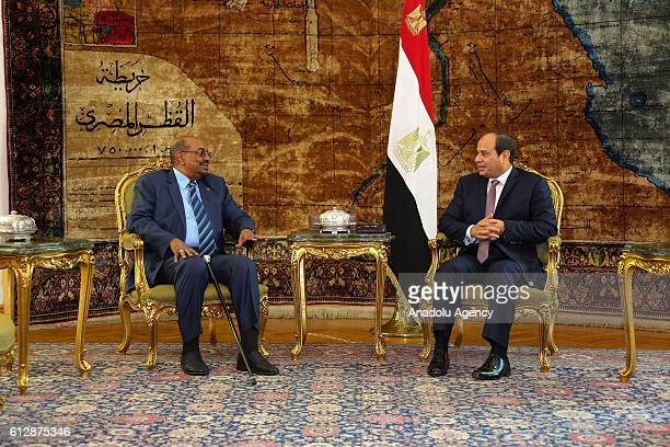 Egyptian President AbdelFattah AlSisi and Sudanese President Omar alBashir are seen during their meeting at Ittihadiya presidential palace in eastern...