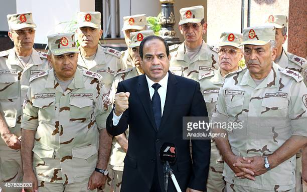 Egyptian President AbdelFattah ElSisi gives a speech during the press release following the meeting of the National Defence Council after the Sinai...