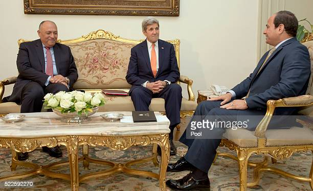 Egyptian President Abdel-Fattah el-Sissi meets with U.S. Secretary of State John Kerry and Egyptian Foreign Minister Sameh Shoukry at the...