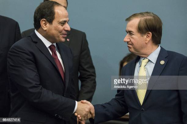 Egyptian President Abdulfettah el-Sisi shakes hands with Committee Chairman Representative Ed Royce during a meeting with members of the U.S. House...