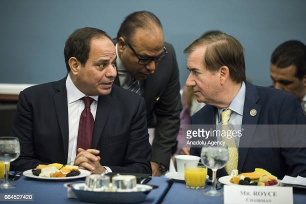 Egyptian President Abdulfettah el-Sisi speaks with Committee Chairman Representative Ed Royce during a meeting with members of the U.S. House Foreign...