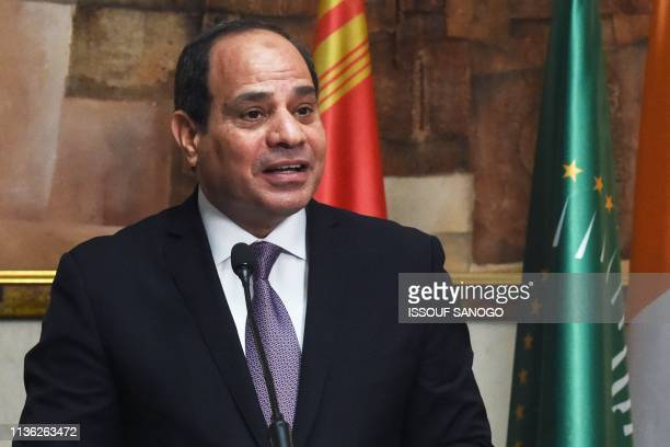 Egyptian President and African Union Chairman Abdel Fattah alSisi giveS a joint press conference with the Ivorian president at the presidential...