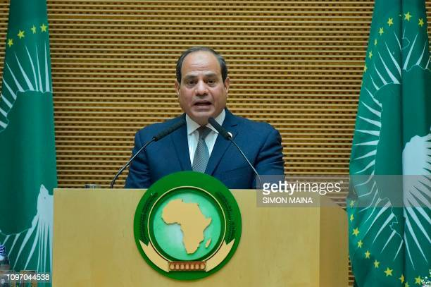Egyptian President and new African Union chairperson Abdel Fattah alSisi speaks during the 32nd African Union summit in Addis Ababa on February 10...