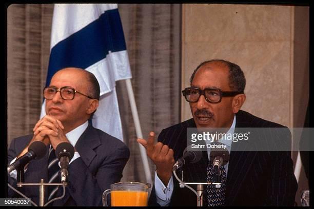 Egyptian President Anwar Sadat and Israeli Prime Minister Menachem Begin during press conference